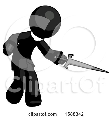 Black Clergy Man Sword Pose Stabbing or Jabbing by Leo Blanchette