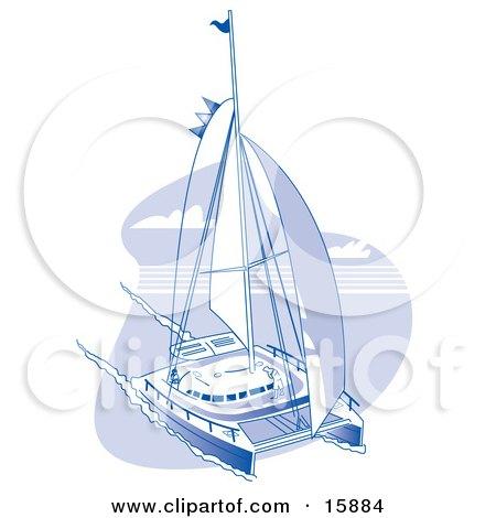 Sailing Catamaran Clipart Illustration by Andy Nortnik