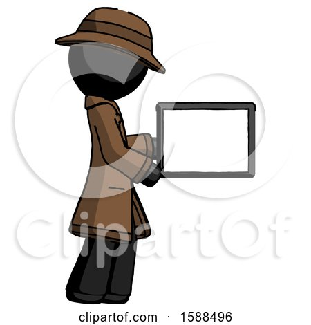 Black Detective Man Show Tablet Device Computer to Viewer, Blank Area by Leo Blanchette