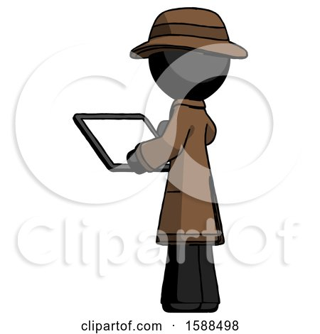 Black Detective Man Looking at Tablet Device Computer with Back to Viewer by Leo Blanchette