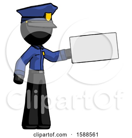 Black Police Man Holding Large Envelope by Leo Blanchette