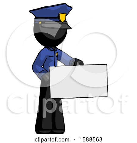 Black Police Man Presenting Large Envelope by Leo Blanchette