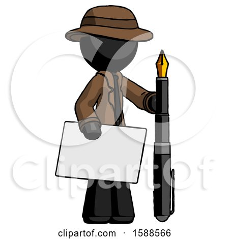 Black Detective Man Holding Large Envelope and Calligraphy Pen by Leo Blanchette