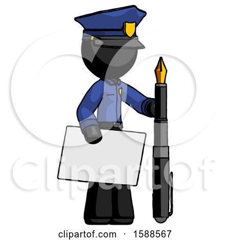 Black Police Man Holding Large Envelope and Calligraphy Pen by Leo Blanchette