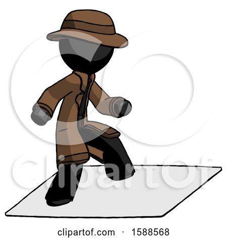 Black Detective Man on Postage Envelope Surfing by Leo Blanchette