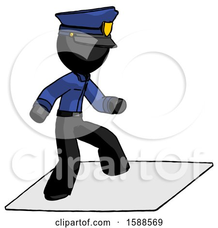 Black Police Man on Postage Envelope Surfing by Leo Blanchette