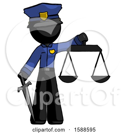 Black Police Man Justice Concept with Scales and Sword, Justicia Derived by Leo Blanchette