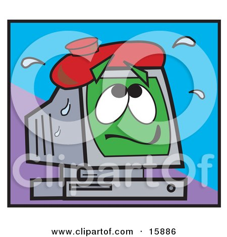 Sick Computer With An Ice Pack On Its Screen, Symbolising A Crashing Computer Posters, Art Prints