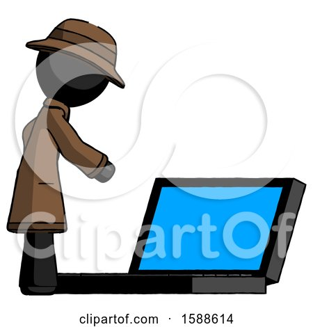 Black Detective Man Using Large Laptop Computer Side Orthographic View by Leo Blanchette