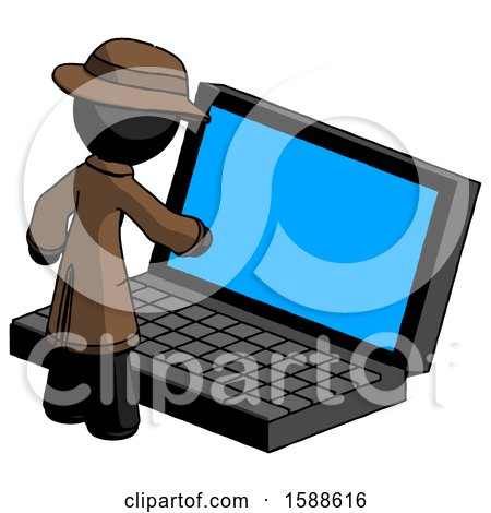Black Detective Man Using Large Laptop Computer by Leo Blanchette