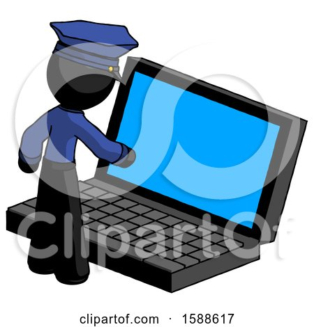 Black Police Man Using Large Laptop Computer by Leo Blanchette