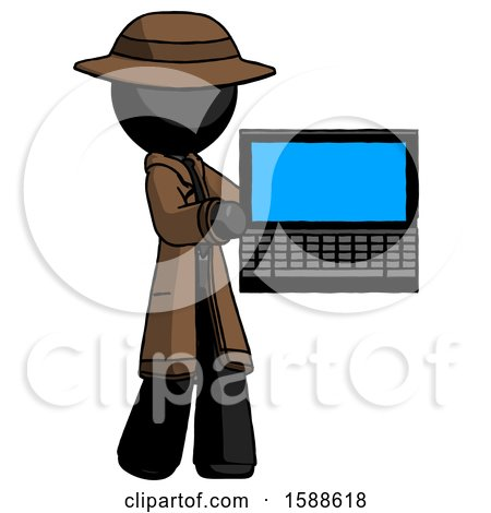 Black Detective Man Holding Laptop Computer Presenting Something on Screen by Leo Blanchette