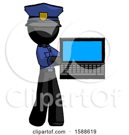 Black Police Man Holding Laptop Computer Presenting Something on Screen by Leo Blanchette