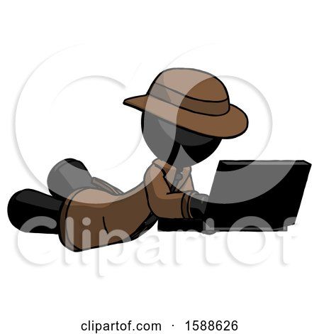 Black Detective Man Using Laptop Computer While Lying on Floor Side Angled View by Leo Blanchette
