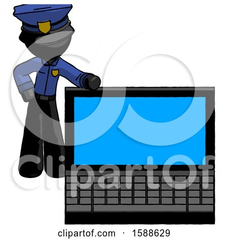 Black Police Man Beside Large Laptop Computer, Leaning Against It by Leo Blanchette