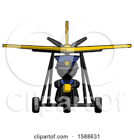 Black Police Man in Ultralight Aircraft Front View by Leo Blanchette