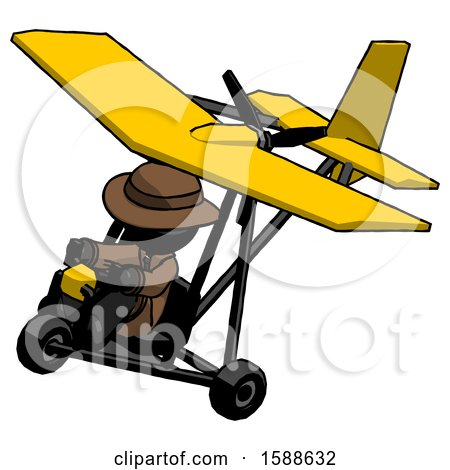 Black Detective Man in Ultralight Aircraft Top Side View by Leo Blanchette