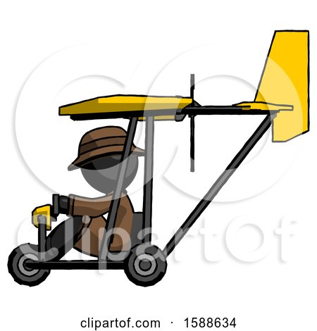 Black Detective Man in Ultralight Aircraft Side View by Leo Blanchette