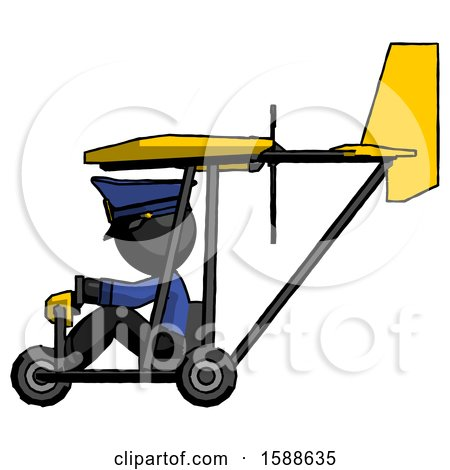 Black Police Man in Ultralight Aircraft Side View by Leo Blanchette