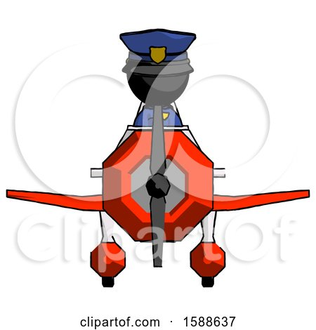 Black Police Man in Geebee Stunt Plane Front View by Leo Blanchette