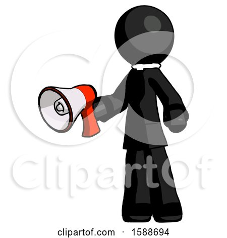 Black Clergy Man Holding Megaphone Bullhorn Facing Right by Leo Blanchette