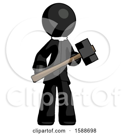 Black Clergy Man with Sledgehammer Standing Ready to Work or Defend by Leo Blanchette
