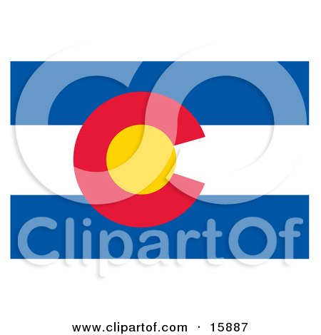 Flag of Colorado Clipart Illustration by Andy Nortnik
