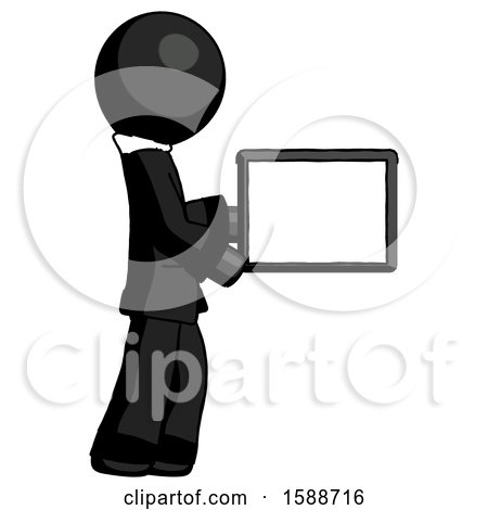 Black Clergy Man Show Tablet Device Computer to Viewer, Blank Area by Leo Blanchette