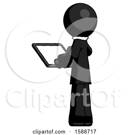 Black Clergy Man Looking at Tablet Device Computer with Back to Viewer by Leo Blanchette