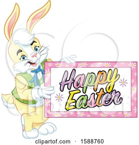 Clipart of a Yellow Bunny Rabbit Holding a Happy Easter Sign - Royalty Free Vector Illustration by Lawrence Christmas Illustration
