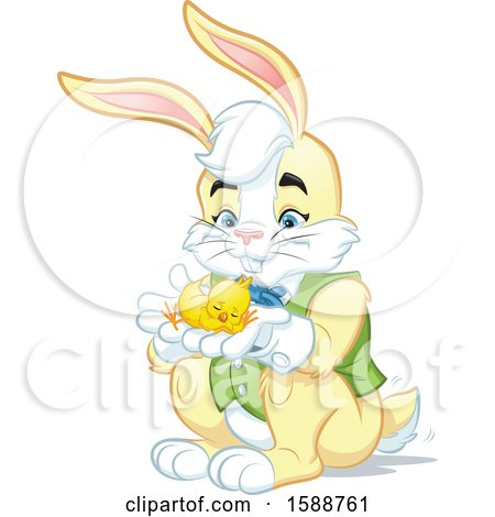 Yellow Easter Bunny Rabbit Holding a Chick Posters, Art Prints