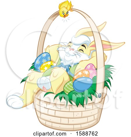 Clipart of a Yellow Bunny Rabbit Relaxing in an Easter Basket - Royalty Free Vector Illustration by Lawrence Christmas Illustration