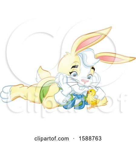 Clipart of a Yellow Easter Bunny Rabbit Laying on the Ground and Watching a Chick - Royalty Free Vector Illustration by Lawrence Christmas Illustration