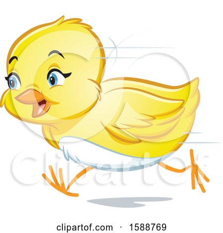 Clipart of a Yellow Easter Chick Running - Royalty Free Vector Illustration by Lawrence Christmas Illustration