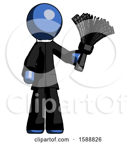 Blue Clergy Man Holding Feather Duster Facing Forward by Leo Blanchette