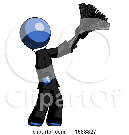Blue Clergy Man Dusting with Feather Duster Upwards by Leo Blanchette