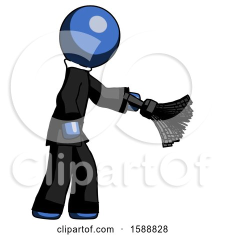 Blue Clergy Man Dusting with Feather Duster Downwards by Leo Blanchette
