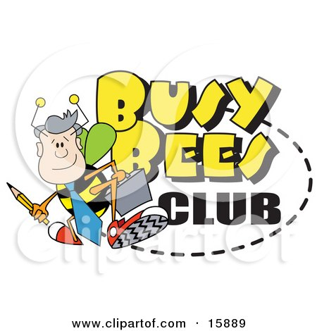 Male Worker Bee With A Pencil And Briefcase On A Busy Bees Club Sign Clipart Illustration by Andy Nortnik
