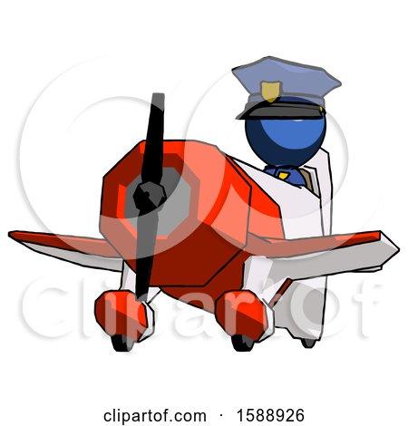 Blue Police Man Flying in Geebee Stunt Plane Viewed from Below by Leo Blanchette