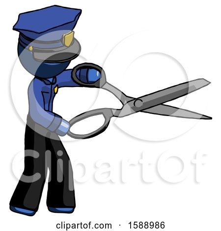 Blue Police Man Holding Giant Scissors Cutting out Something by Leo Blanchette