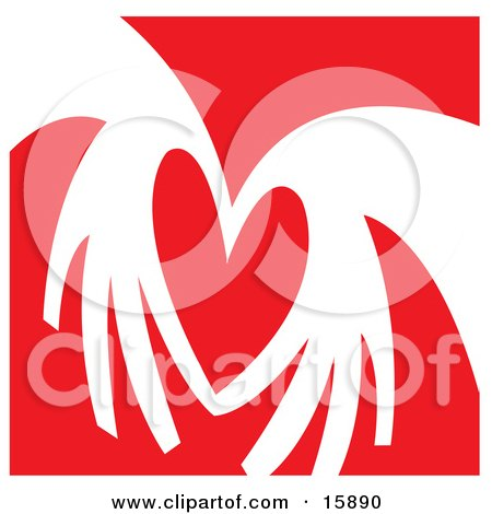 Pair Of Hands Coming Together To Form The Shape Of A Heart Over A Red Background Clipart Illustration Posters, Art Prints