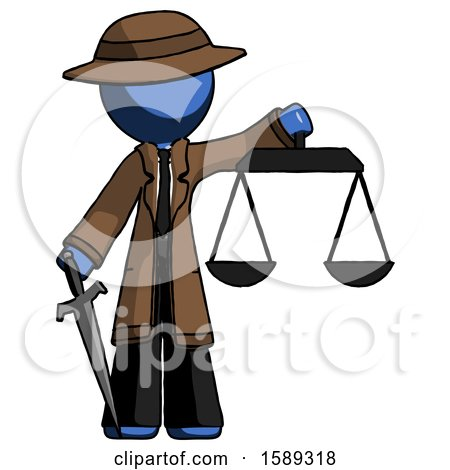 Blue Detective Man Justice Concept with Scales and Sword, Justicia Derived by Leo Blanchette