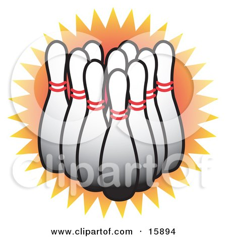 Lineup of White Bowling Pins Clipart Illustration by Andy Nortnik