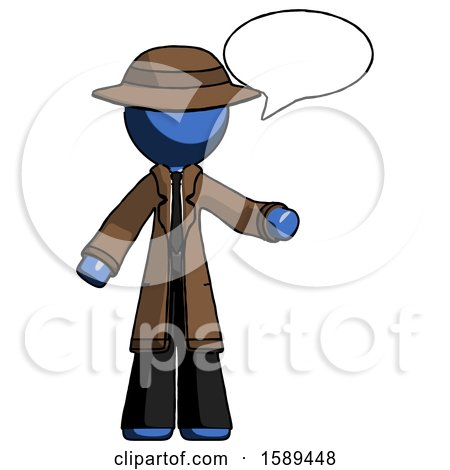 Blue Detective Man with Word Bubble Talking Chat Icon by Leo Blanchette