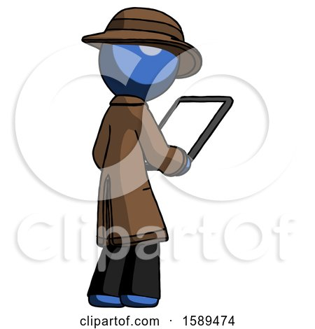 Blue Detective Man Looking at Tablet Device Computer Facing Away by Leo Blanchette