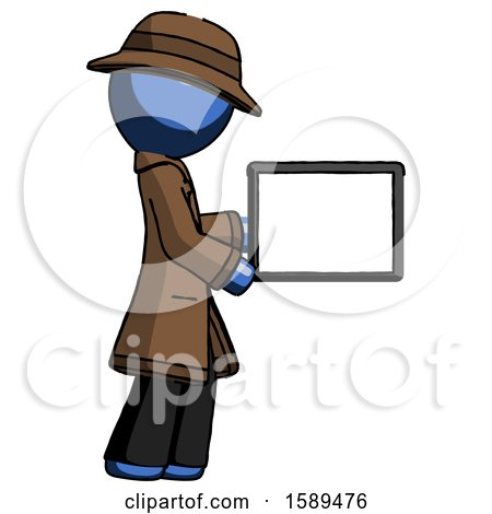 Blue Detective Man Show Tablet Device Computer to Viewer, Blank Area by Leo Blanchette