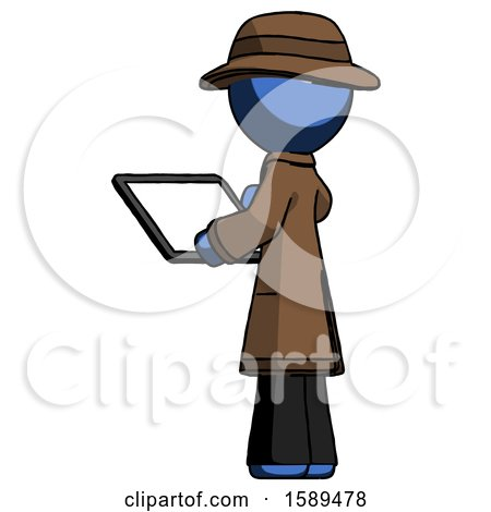 Blue Detective Man Looking at Tablet Device Computer with Back to Viewer by Leo Blanchette