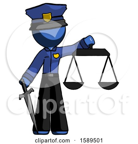 Blue Police Man Justice Concept with Scales and Sword, Justicia Derived by Leo Blanchette