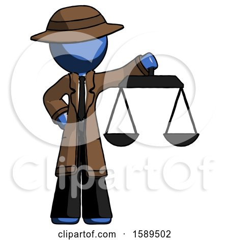 Blue Detective Man Holding Scales of Justice by Leo Blanchette