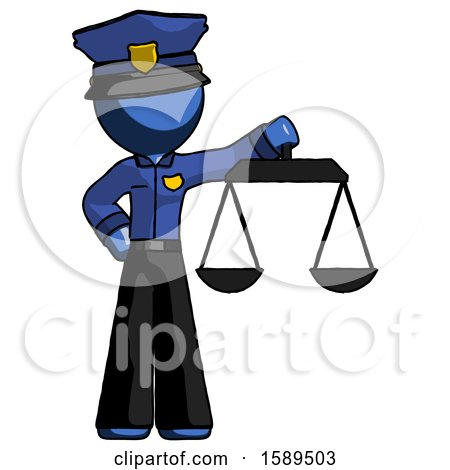 Blue Police Man Holding Scales of Justice by Leo Blanchette